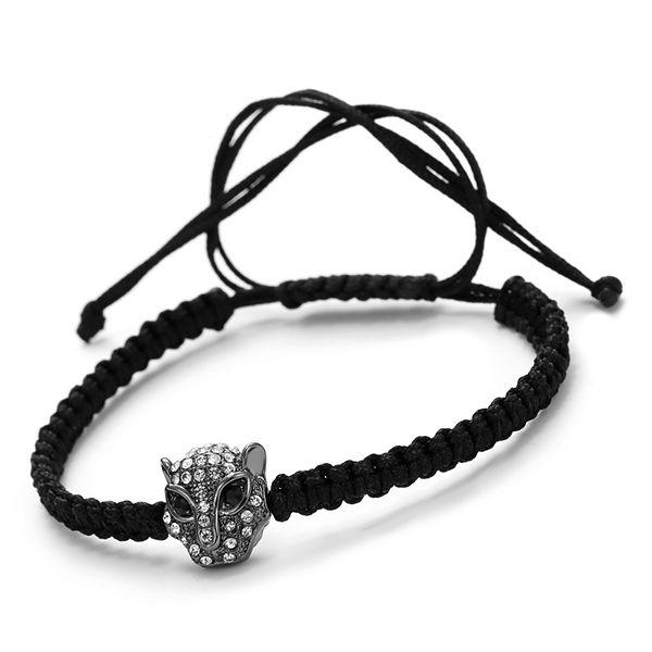 Vintage Rhinestone Woven Rope Leopard Head Bracelet For Men