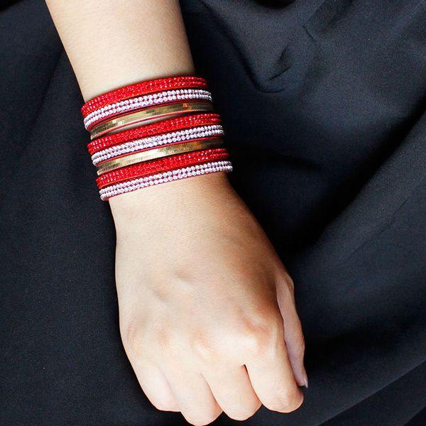 Vintage Faux Leather Layered Rhinestone Wrap Bracelet