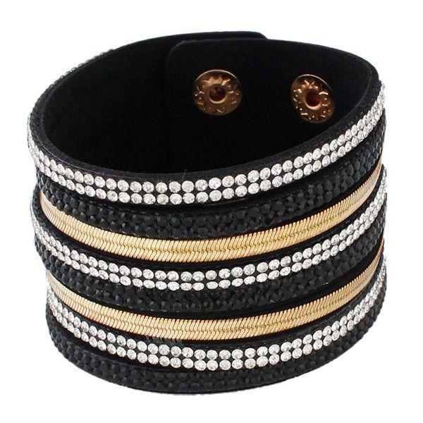 Vintage Faux Leather Layered Rhinestoned Wrap Bracelet