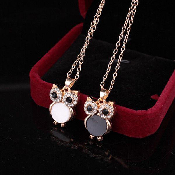 Chic Style Enamel Owl Rhinestone Pendant Necklace For Women