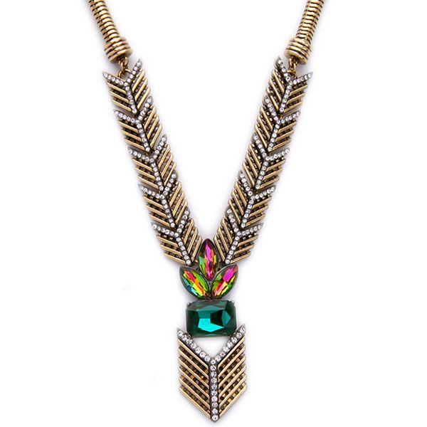Faux Crystal Arrow Necklace