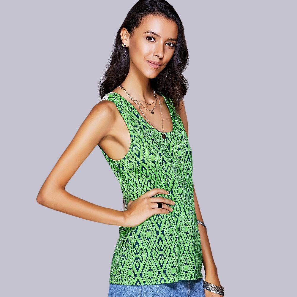 Casual Scoop Neck Geo Crochet Tank Top For Women