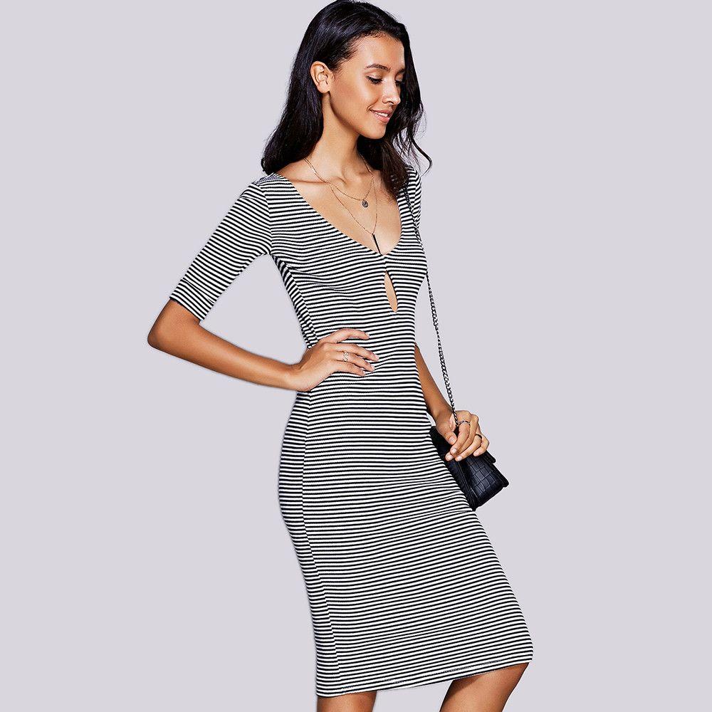 Stylish Keyhole Neck Striped Midi Dress For Women