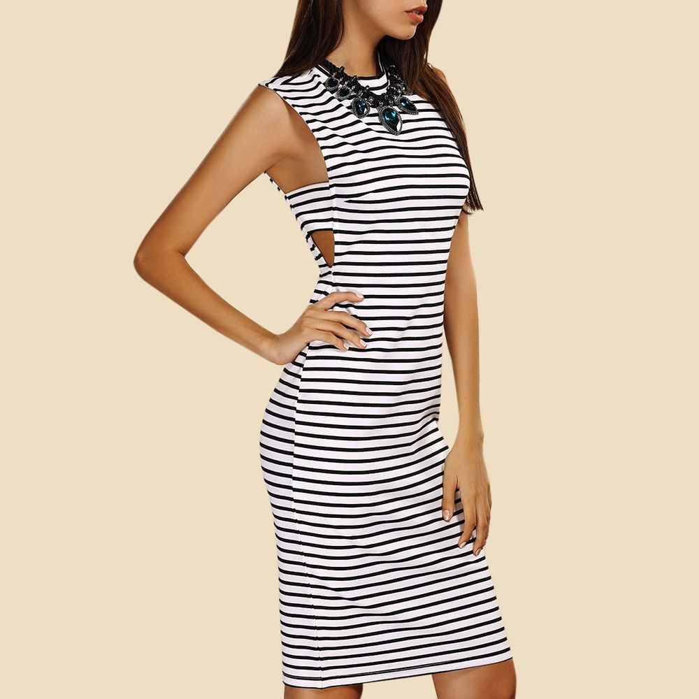 Sleeveless Striped Cutout T-Shirt Bodycon Dress