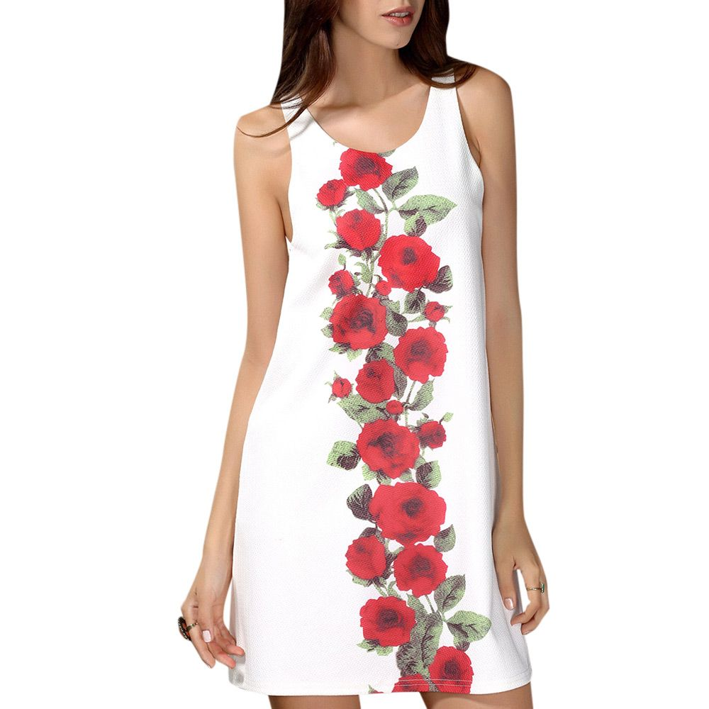 Chic Scoop Collar Sleeveless Floral Print Women's Dress