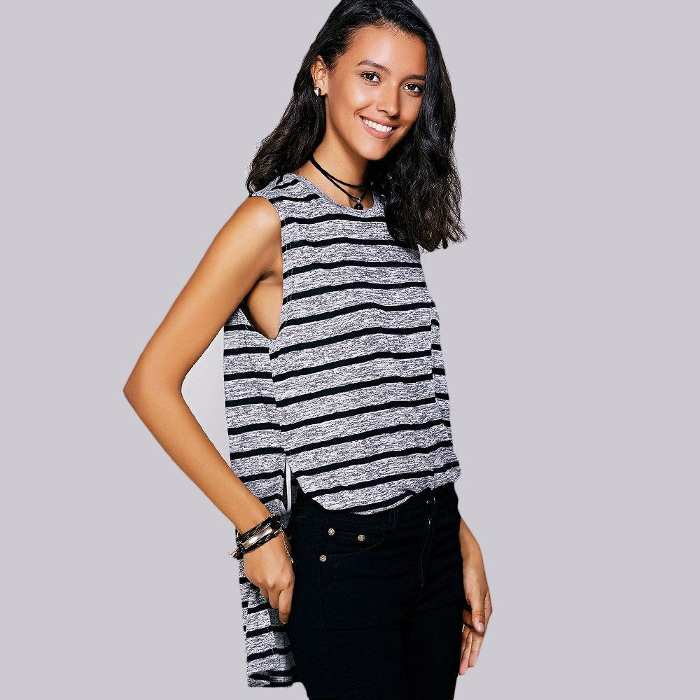 Casual Jewel Neck Striped Slit Top For Women