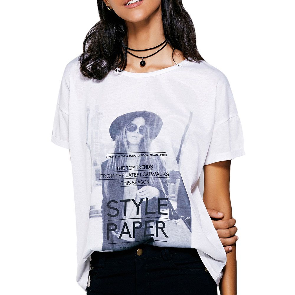 Casual Short Sleeves Figure Print T-Shirt For Women