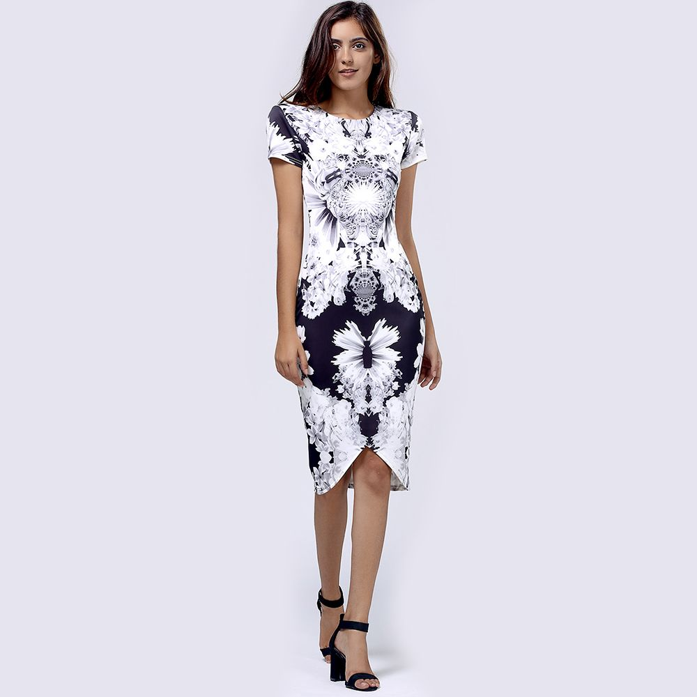 Bodycon Short Sleeve Floral Print Bandage Dress