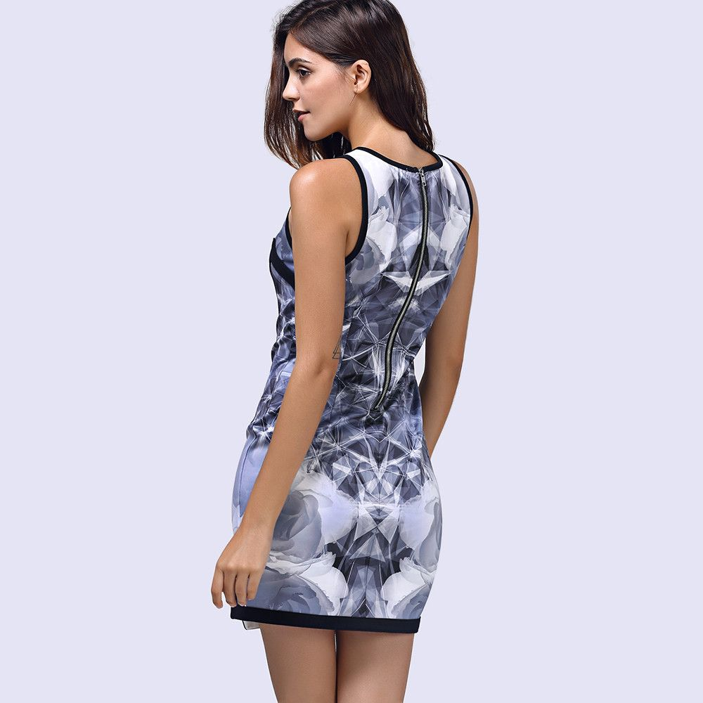 Bodycon Printed Sleeveless Round Neck Women's Dress