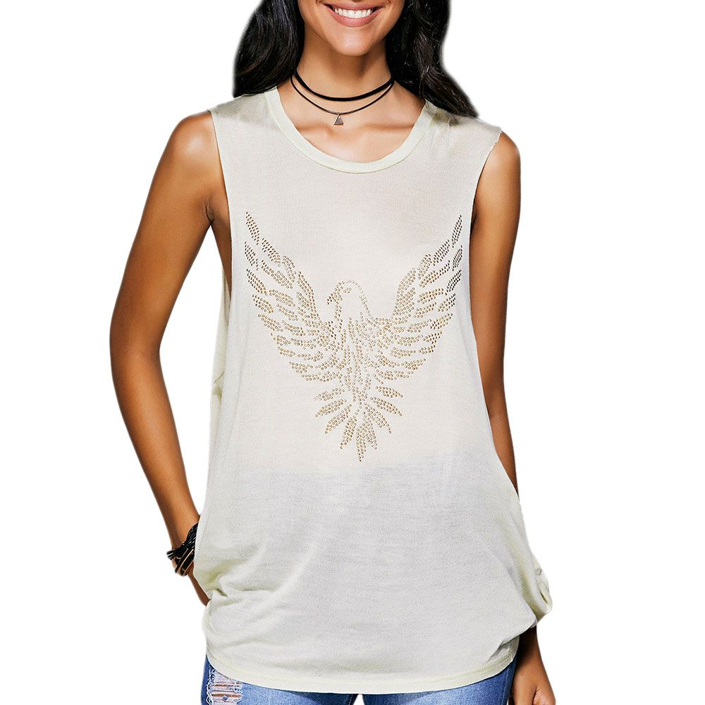 Rhinestone Drop Armhole Long Tank Top