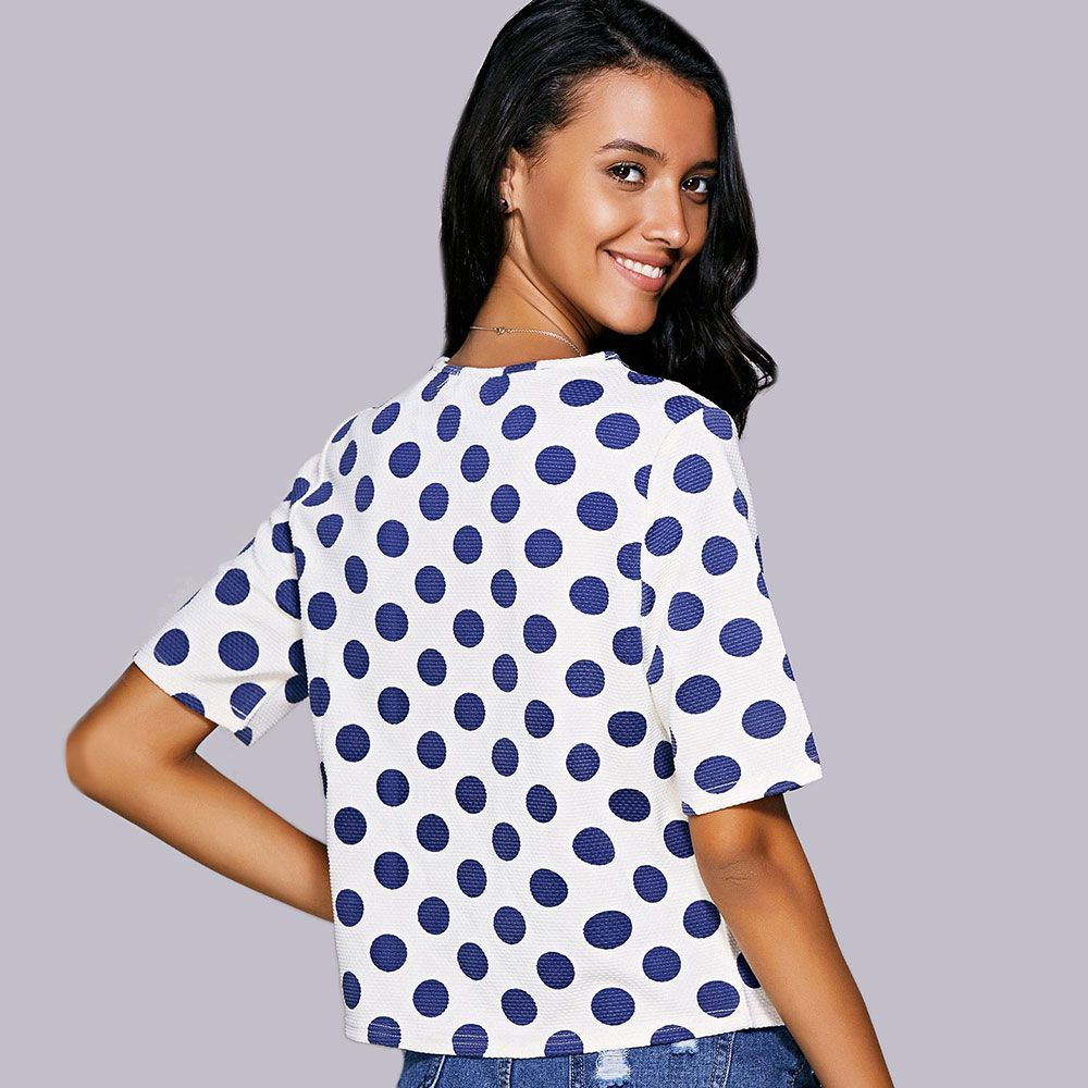 Casual Jewel Neck Polka Dot Short Sleeve Tee For Women