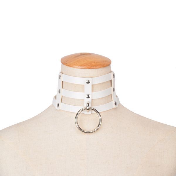 Punk Style Layered Faux Leather Circle Necklace