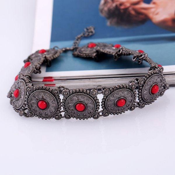 Bohemian Faux Gem Engraved Floral Choker Necklace