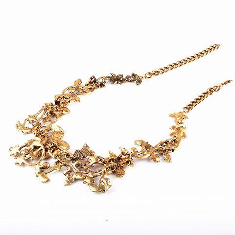 Vintage Embellished Rhinestoned Floral Necklace