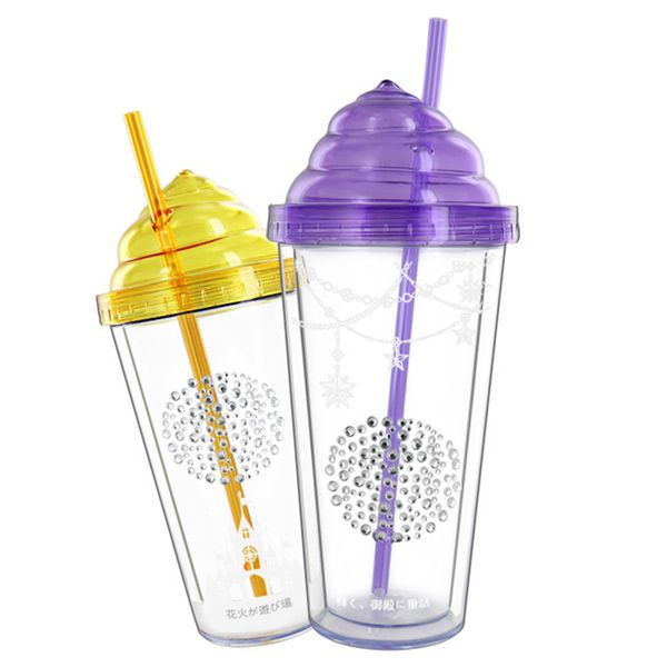 Creative 350ML Transparent Double Leakproof Cover Cup With Straw