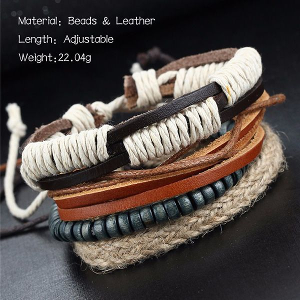 A Suit of Vintage Multilayered Faux Leather Beads Wrap Bracelets