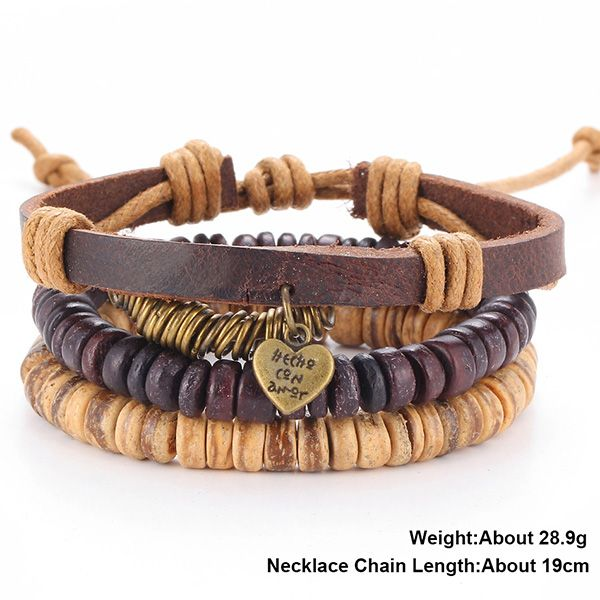 A Suit of Vintage Faux Leather Beads Heart Bracelets