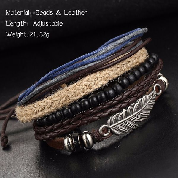 A Suit of Vintage Faux Leather Beads Feather Bracelets For Men