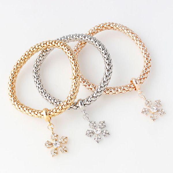 Rhinestoned Floral Layered Bracelets