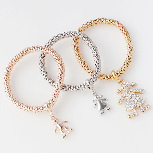 Rhinestone Litter Girl Layered Bracelets