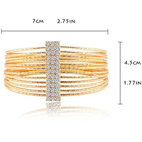 Multilayered Gold Plated Textured Rhinestone Strand Bracelet