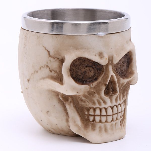 High Quality Carving 3D Skull Stainless Steel Vodka Liquor Cup