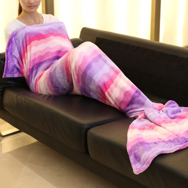 Ombre Mermaid Tail Style Soft Blanket