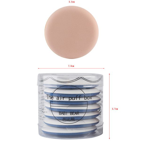 Stylish 7 Pcs Round Dual-Use Dry and Wet Calm Makeup BB Cream Air Puffs