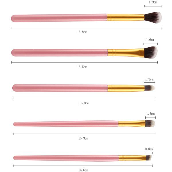 Stylish 5 Pcs Eyeshadow Nylon Eye Makeup Brushes Set