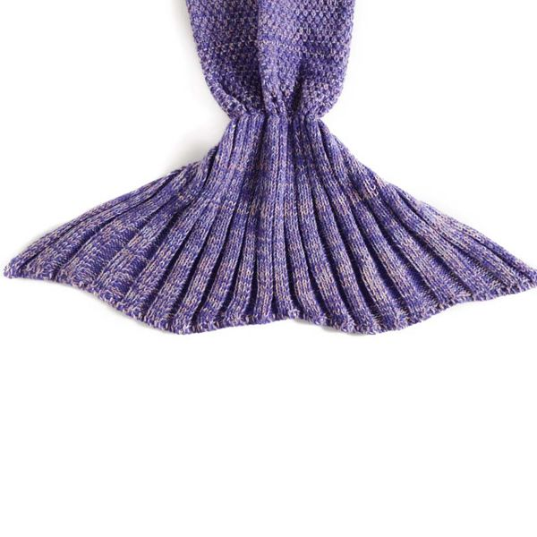Fish Scale Tail Shape Flouncing Sleeping Bag Mermaid Knitting Blanket For Kids