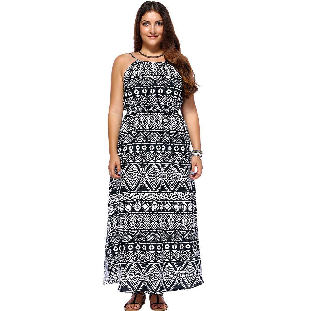 Chic Women's Geometrical Printed Sleeveless Plus Size Dress