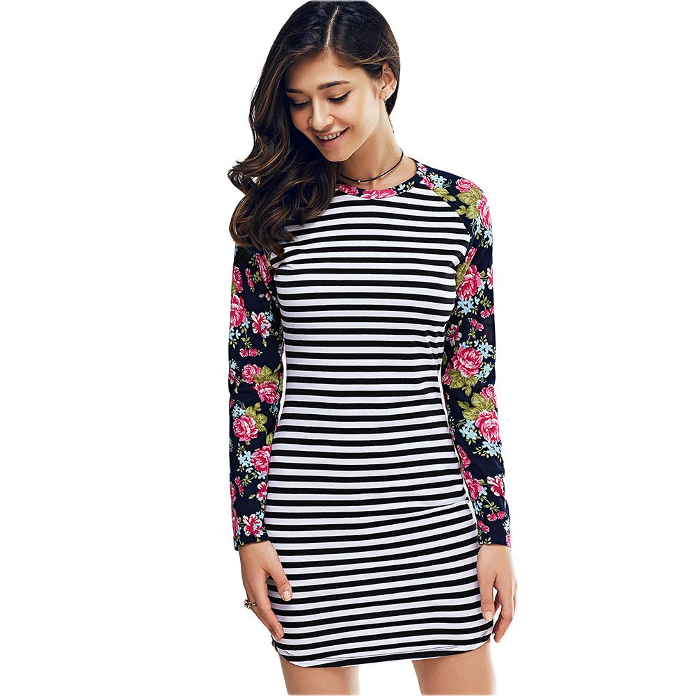 Long Sleeves Striped Printed Bodycon Dress