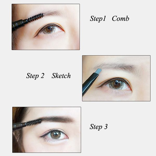 Stylish Double-End Waterproof Soft Auto Rotation Eyebrow Pencil with Brush