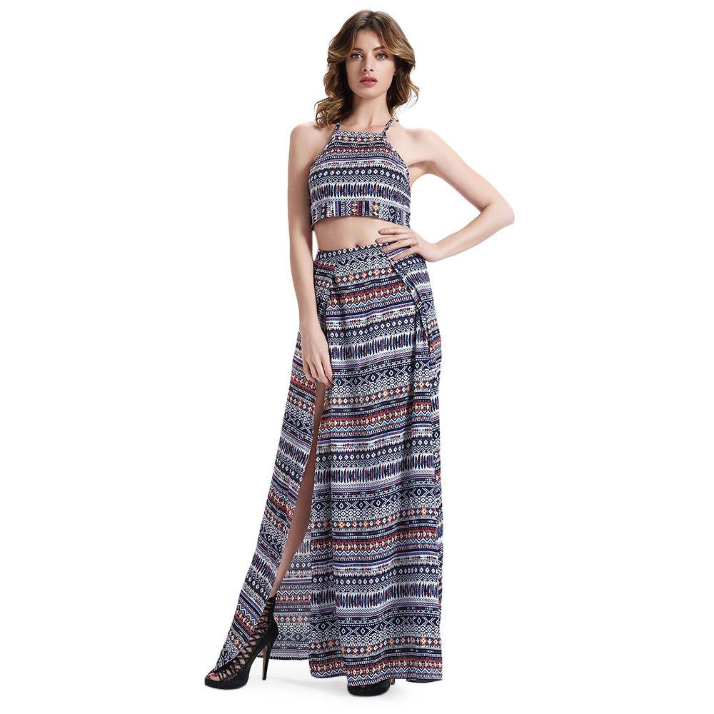 Chic Women's Round Neck Crop Top + High Cut Ethnic Print Skirt