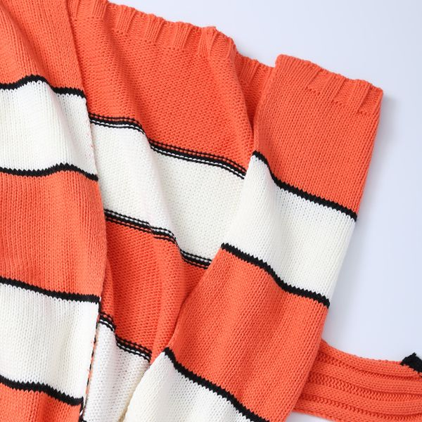 Stripe Cartoon Knitted Clownfish Blanket For Kids