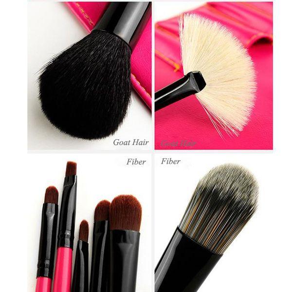 Stylish 8 Pcs Goat Hair Fiber Facial Eye Lip Makeup Brushes Set with Storage Package