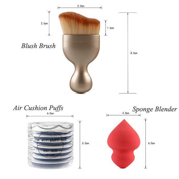 Stylish 4 Pcs/Set BB Cream Air Cushion Puffs + Foundation Brush + Wave Shape Blush Brush + Sponge Blender