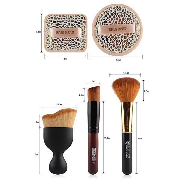 5 Pcs Eye Makeup Brushes Set with Brush Holder + 2 Pcs Powder Puffs + Wave Shape Blush Brush + Blush Brush + Foundation Brush