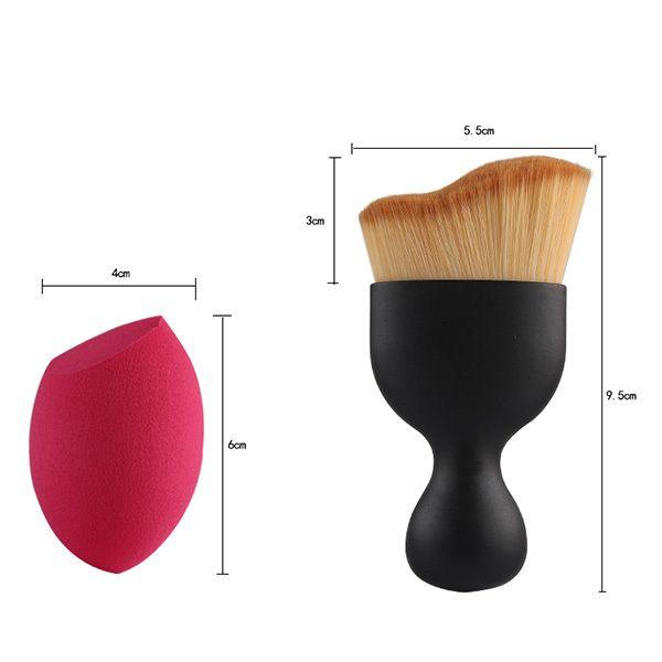 4 Pcs/Set Wave Shape Blush Brush + Foundation Brush + Eyeshadow Brush + Bevel Cut Makeup Sponge