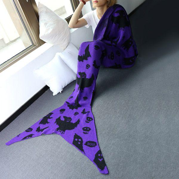 Comfortable Halloween Ghost Pattern Sofa Mermaid Blanket