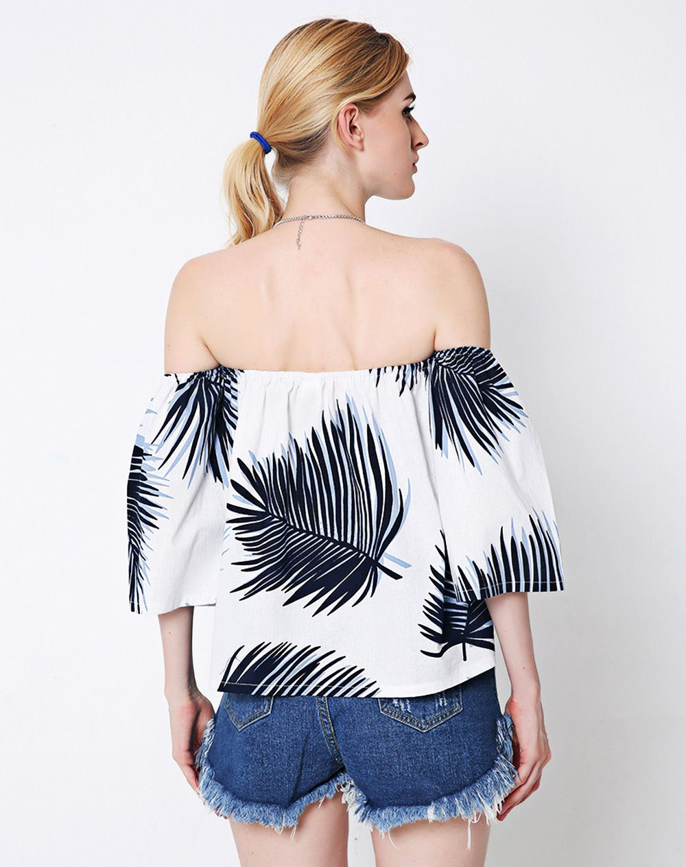 Off The Shoulder Backless Leaves Pattern Blouse