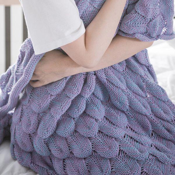 Fish Scale Yarn Knitted Sleeping Bag Mermaid Blanket