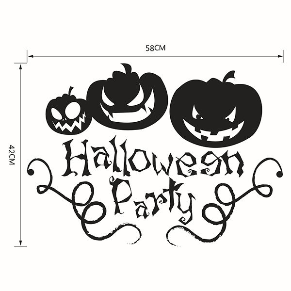 Halloween Pumpkin Removable Waterproof Room Vinyl Wall Sticker