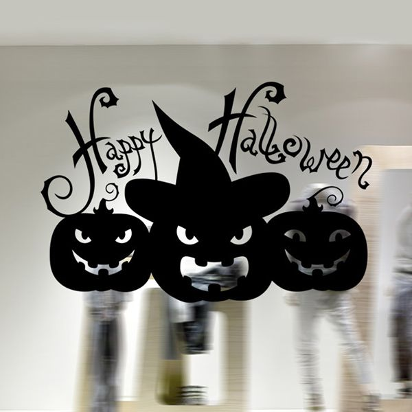 Happy Halloween Pumpkin Witch Removable Waterproof Room Wall Sticker