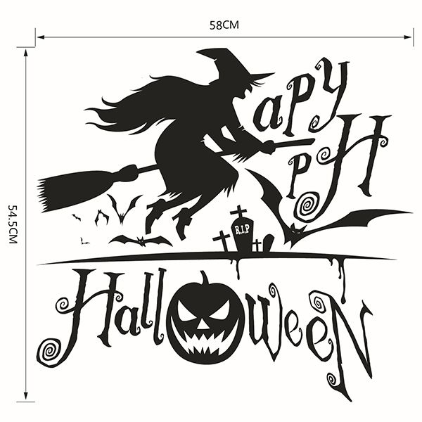Waterproof Happy Halloween Pumpkin Witch Room Wall Sticker