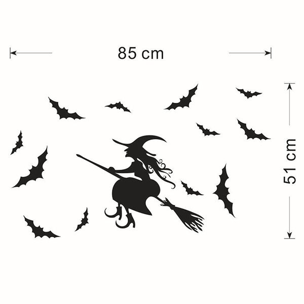 Waterproof Happy Halloween Witch Bats Room Wall Sticker
