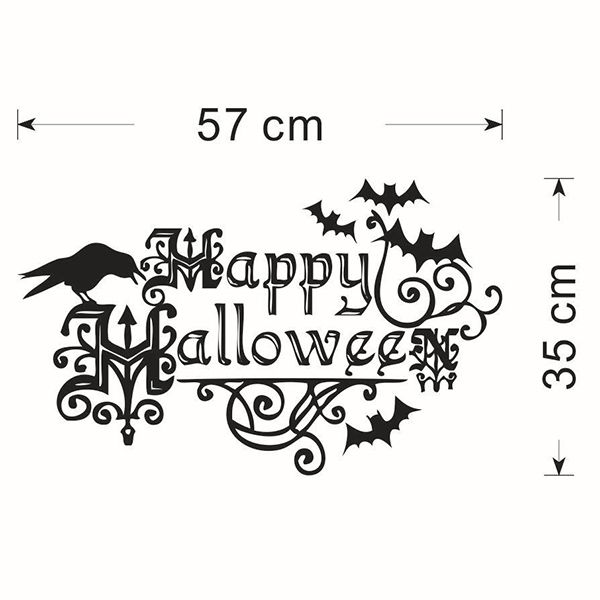 Removable Happy Halloween Bats Room Wall Sticker