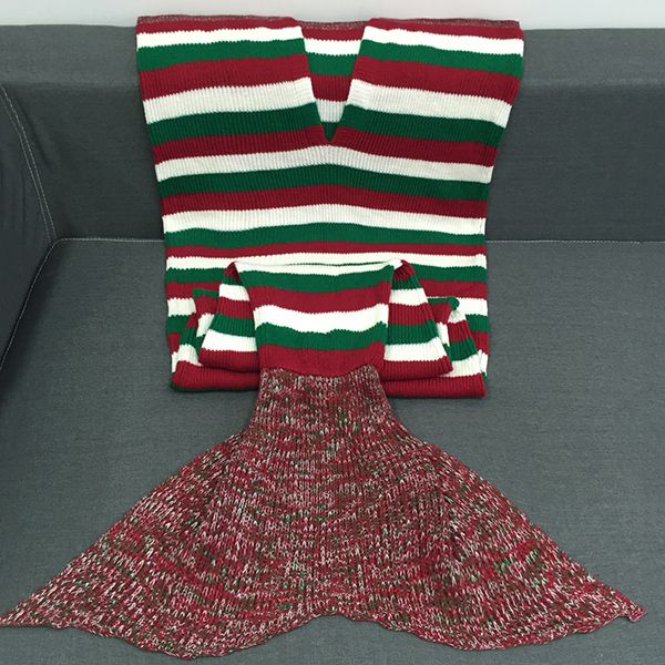 Super Soft Color Block Stripe Crochet Knitting Mermaid Tail Style Blanket