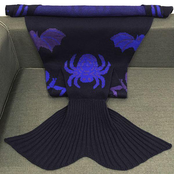 Halloween Spider Multicolor Crochet Knitting Mermaid Tail Style Blanket