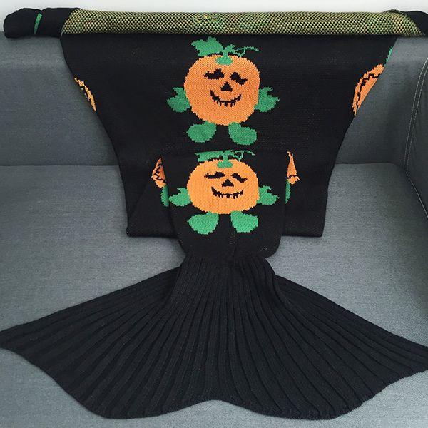 Halloween Pumpkin Multicolor Crochet Knitting Mermaid Tail Style Blanket